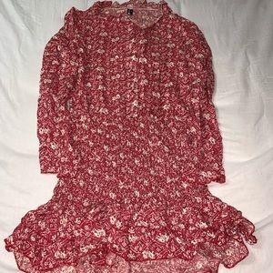Floral Shirt Midi/Mini Dress In Red Sz X-small